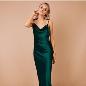 Princess Polly green maxi with slit small new